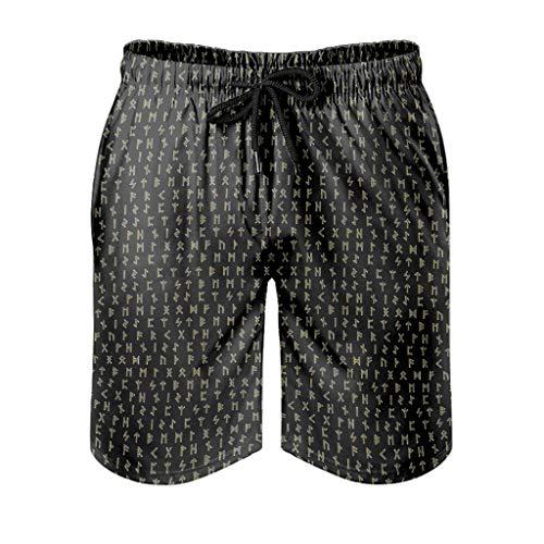Kikomia - Maillot de bain pour homme - Motif : Viking - Nordique - Imprimé - Imprimé rétro - Avec poches 6XL Blanc