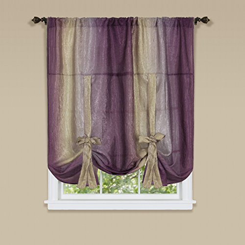 Achim Home Furnishings OMTU63AB06 Ombre Tie up Shade Window Curtain, 50' x 63', Aubergine