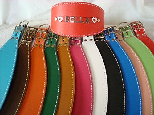 Collar de perro de cuero para galgos, personalizable (tamaño del cuello 32cm - 43cm) -