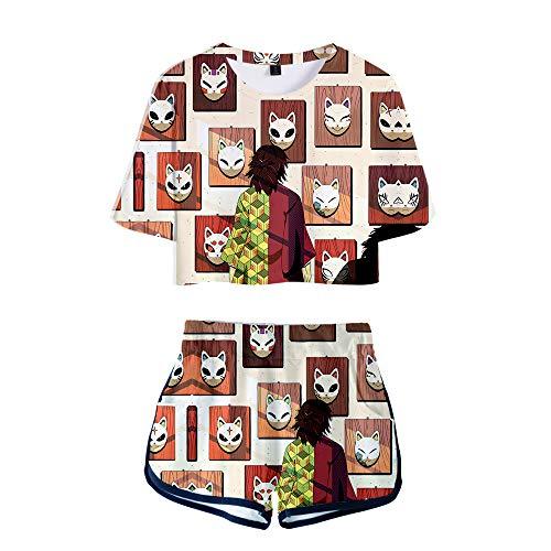 Demon Slayer Kimetsu no Yaiba Conjuntos Deportivos para Mujer Chándales Deportiva Camiseta y Pantalones Crop Top Deportiva Corto T-Shirt Verano para Yoga Fitness