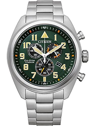 Citizen Eco-Drive AT2480-81X - Cronógrafo para hombre, color verde