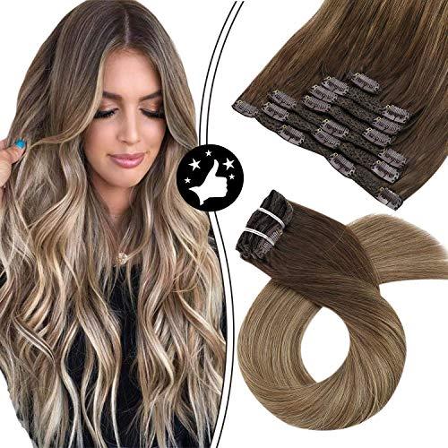 Moresoo Extensions a Clip Cheveux Naturel 24 Pouces Ombre #4 Marron Foncé à #10 Brun Doré avec #16 Blond Doré Clip dans Remy Hair Extensions 7 Pieces 100 Gramme