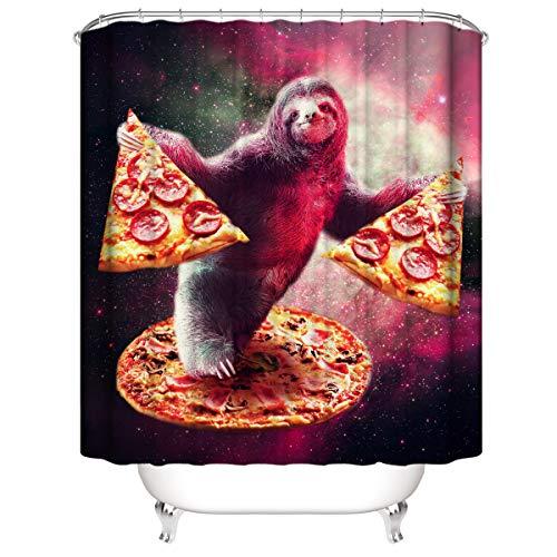LLLTONG Duschvorhang Polyesterfaser 3D Badvorhang wasserdicht Mehltau Vorhang Pizza Faultier AFFE