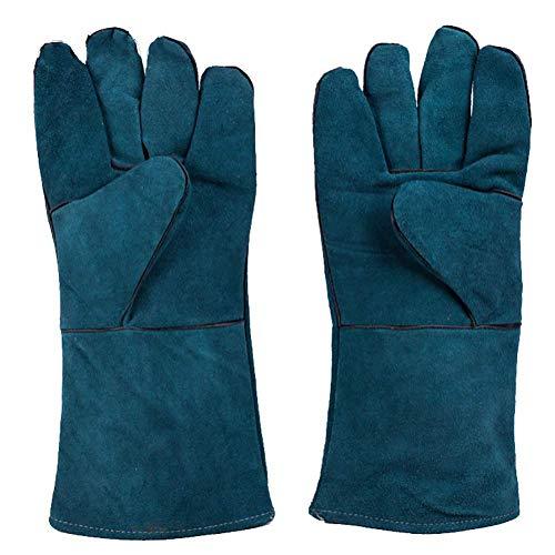 KEKE lederen smeden lassen handschoenen - extreme hitte en brandwerende lange manchetten Barbecue handschoenen, voor het lassen, open haard, Oven, houtkachel, kachels, BBQ