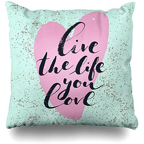 July penseel met de hand getekende tekst Phrase Live Life You Ink Love Inspirational Quote zuivere creatieve hand kussensloop