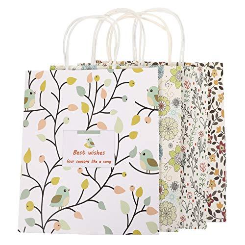 VALICLUD 8Pcs Blumenpapier Partybevorzugungstaschen mit Griffen Papierbonbontüten Blumengeschenktüten Goodie-Taschen für Snacks Hochzeit Geburtstagsfeier Liefert Dekorationen M