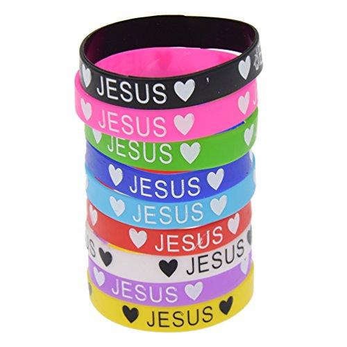 Kesheng Jesus Amour en caoutchouc de silicone Bracelets Bracelets Bracelet 1PC Couleur aléatoire, B - color random, 5.8cm