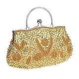 HONGCI Bolso al hombro para mujer - Bolso de Tarde Flores Retro Beaded Bolso de Embrague Bolso Bolsa de Embrague Bolso de Fiesta Boda (Dorado)