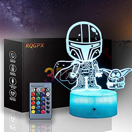3D lámpara visual Star Wars 3D noche luz mandalorian 16 colores regulable USB Powered control táctil con control remoto para niños niñas niños regalos