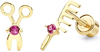 14k Yellow Gold Scissors & Comb Stud Earrings with Screw Back