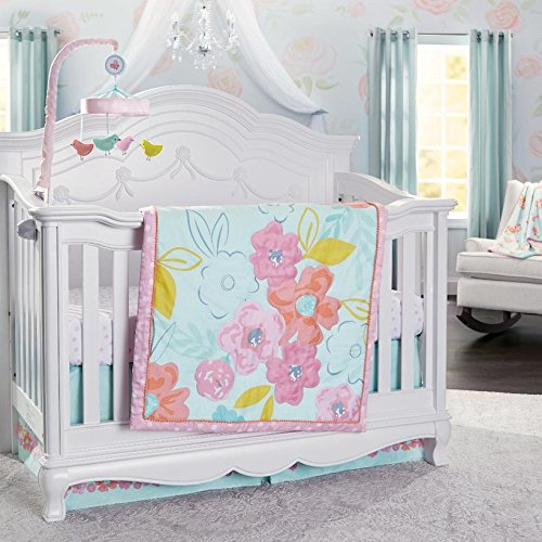 Koala Baby Room to Grow Pink Floral 3 Piece Crib Bedding Set