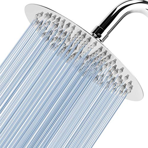 """Voolan High Pressure Shower Head - California Compliant 1.8 GPM - 8"""" Rain Shower head Made of 304 Stainless Steel - Comfortable Shower Experience Even at Low Water Flow (Chrome)"""