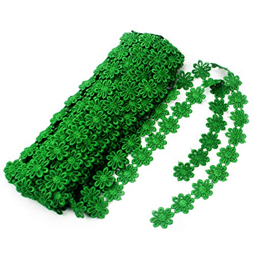 IDONGCAI Christmas Lace Trim Decoration Flower Green Lace Ribbon Lace Trim Daisy Flower Edging Ribbon-15 Yard Lace Ribbons for Crafts