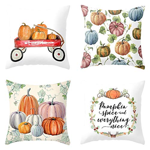 Set of 4 Halloween Pillow Covers Themed Party Pillow Case Cushion Covers Linen Home Decorations