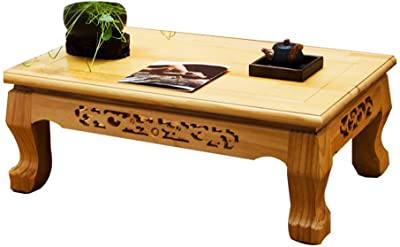 Coffee Tables Hand-Carved Small Table Tatami Coffee Table Living Room Solid Wood Small Coffee Table Multi-Function Coffee Table Balcony Bay Window Table Rectangular Low Tables