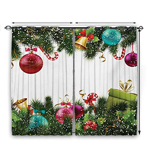 nooweihome Christmas ThermalInsulatedCurtains Happy New Year Greeting Celebrations with Holly Garland Artful Design ShadingandHeatProtection W63 x L45 Green Maroon