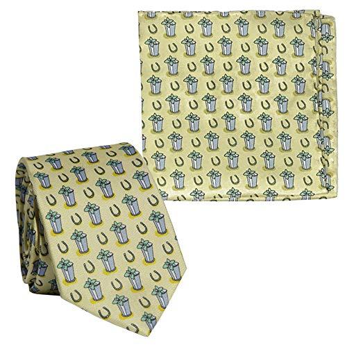 Barrel Down South Kentucky Derby Mint Julep - Corbata de seda para hombre y bolsillo cuadrado