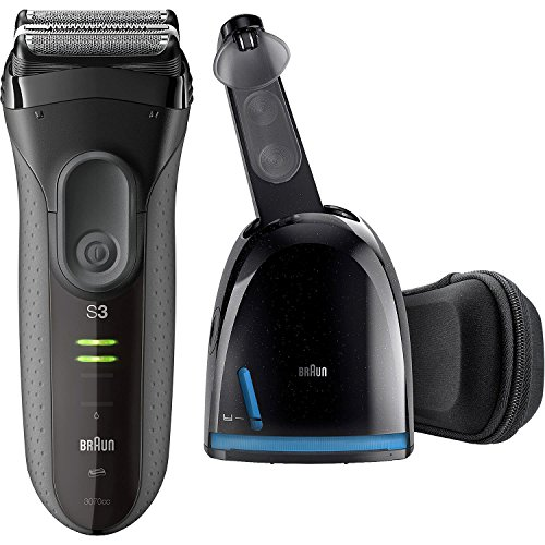 Braun Electric Razor for Men, Series 3 ProSkin 3070cc Electric Foil Shaver, Rechargeable with Clean & Charge Station, Black