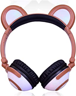 Cat Ears Can Shine Bluetooth Headphones, Beautifully Foldable Wireless Headphones Over Ear Hi-Fi Sound for Cell Phones PC Tablet Home Office,Brown