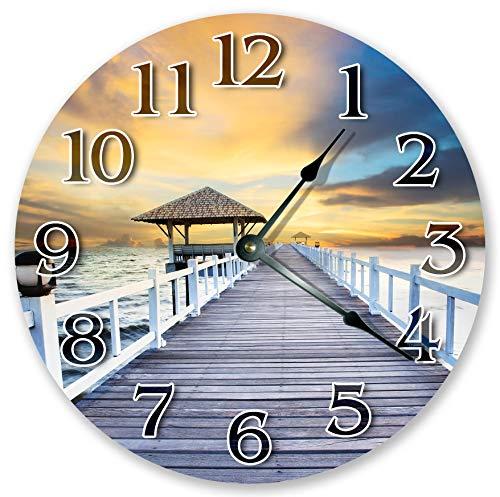 Yor242len 12 inch DOCK WITH GAZEBO Clock Large 12 inch Wall Clock Beach Decor Round Clock Beach Clock Housewarming Gift Home Decor 3084
