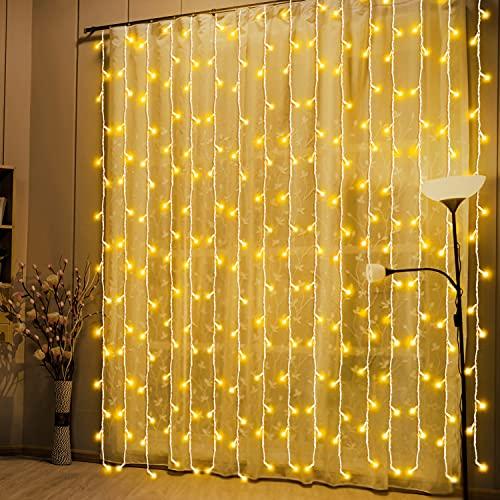 LED Lichtervorhang,3m x 3m 300 LEDs Lichterkette Vorhang Lichterkette mit 8 Modi Strombetrieben Lichterketten Ideal Deko für Weihnachten,Party,Garten,Hochzeit Innen und Außen