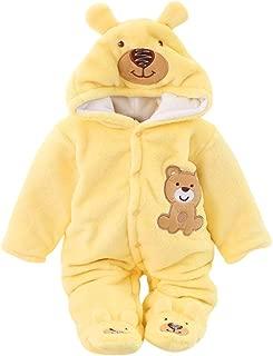 Arystk Winter Baby Boys Girls Romper Newborn Infant Hooded Long Sleeve Cartoon Fleece Jumpsuit