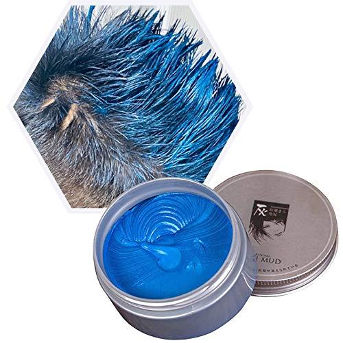 Temporäre Haarfarbe Farbstoff Non-permanent DIY Haarfarbe Wachs Schlamm Washable Farbiges Haarfarbe Creme Für Party Cosplay Halloween (Blau)