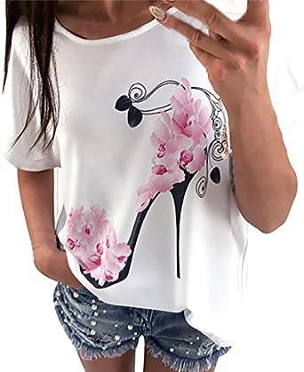 Camiseta de Manga Corta de Mujer Moda Estampado con Tacones ...