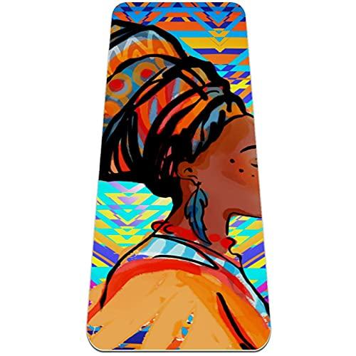 Colchoneta de Yoga Esterilla Yoga Material medioambiental TPE,Mujer africana con pendientes ,Espesor:6milímetros,8milímetros,Tapete de Deporte Grande y Antideslizante,Correas y Mochilas como Regalos