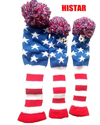 HISTAR Golf Club American Flag Head Cover 3 pcs/Set Knitting Golf Clubs Headcover Driver Cover Fairway Wood Head Covers for Taylormade, Callaway and More Brand