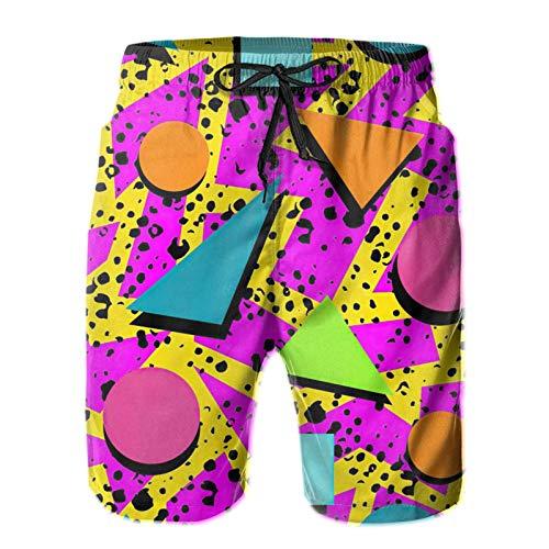 Vintage 80s Memphis Mens Beach Shorts, Quick Dry Swimming Trunks