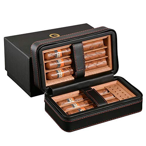 Cigar carrying case, travel leather cedar lined humidor cigar box with humidifier for 6 cigars (black)
