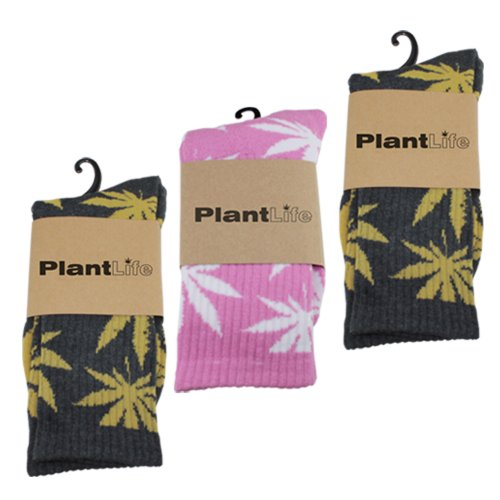 Plantlife® Socken Hanf Socks in universeller Größe, Unisex 2X grau/gelb 1x pink/Weiss