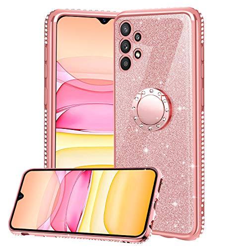 Funda para Samsung Galaxy A32 5G, Glitter Brillante Diamante Carcasa Soporte Magnético de 360 Grados Anillo Giratorio Suave Silicona Gel TPU Anti-Choques y Anti- Arañazos Protectora Carcasa - Oro Rosa