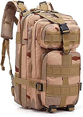 YDHR Military Tactical Backpack Large Army 3 Day Assault Pack 30L Molle Bag Backpacks Camo Outdoors Bug Out Bag for Hiking Camping Hunting Daypack Bag (Khaki, 25L)