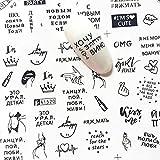 XXCKA 6 Patrones de Letras Rusas Sexy Girl Nail Art Sticker Set Negro Imagen Abstracta Henna DIY Transfer Slider para manicura decoración calcomanía