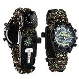 Reloj de supervivencia de pulsera 6en 1, multifuncional, impermeable, con cuerda de paracaídas, silbato, pedernal, rasqueta, brújula y termómetro, Camouflagegreen