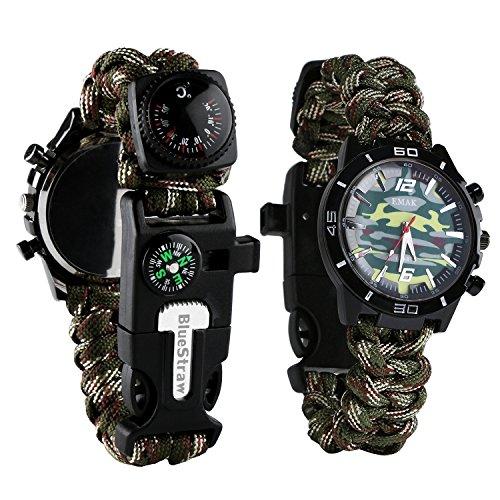 BlueStraw Paracord Armband mit Uhr 6 IN 1 Multifunktionale wasserdichte Notfallüberlebensuhr mit Feuerstarter Schaber Kompass und Thermometer Draußen Camping Überlebensgang