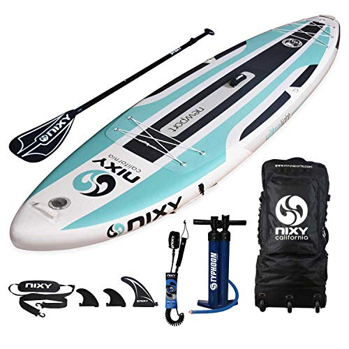 "NIXY Newport Paddle Board All Around Inflatable SUP 10'6' x 33"" x 6"" Ultra-Light Stand Up Paddleboard Built with Dual Layer Dropstitch Includes Paddle, Leash, Pump, Shoulder Strap, and Bag (Aqua)"