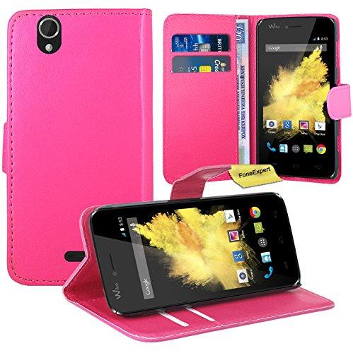 FoneExpert® Wiko Birdy Handy Tasche, Wallet Hülle Flip Cover Hüllen Etui Ledertasche Lederhülle Premium Schutzhülle für Wiko Birdy (Rosa)