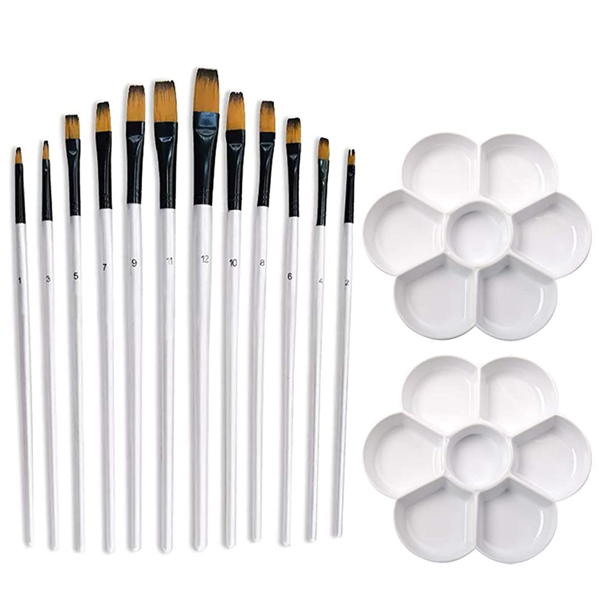 Coobbar Artists Paint Brush Set, 12 Pieces Flat Pointed Tip Paint Brushes with 2 Pieces Palette for Watercolor, Acrylic, Oil, Great for Artists & Kids, Bristles