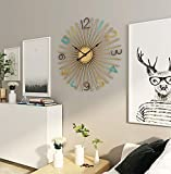 Mid-Century Metal Wall Clock, Large Starburst Decoration for Home, Kitchen,Living Room,Office (Multi Color, 24')