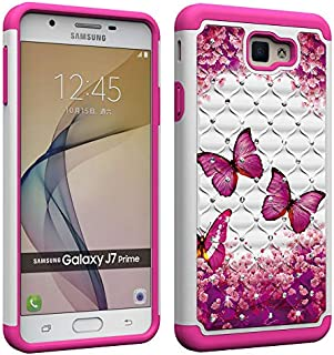 NVWA Compatible Samsung Galaxy J7 Prime Case,On7 2016 Case, G610 Case Tough Dual Layer Rugged Rubber Hybrid Hard Plastic Soft TPU Back Protective Cover Coloured Drawing Glitter Crystal Rose Butterfly