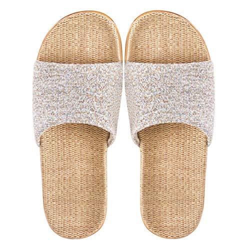 KESYOO 1 par de Zapatillas de Hombre Y Mujer Zapatillas de Lino Zapatos de Verano de Lino Regalo de Playa para Amantes de La Pareja (Beige Tamaño 39-40 25 Cm 8Us 5. 5Uk 39Eu 9. 825 Pulgadas)