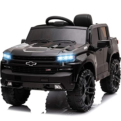 Little Brown Box 12V Licenced Chevrolet Silverado Ride On Truck for Kids to Drive - Battery Powered Ride On Toy w/ Remote Control, Sounds, Lights,2 Speeds,Electric Car for Kids, Toddler,Baby,3-8 years