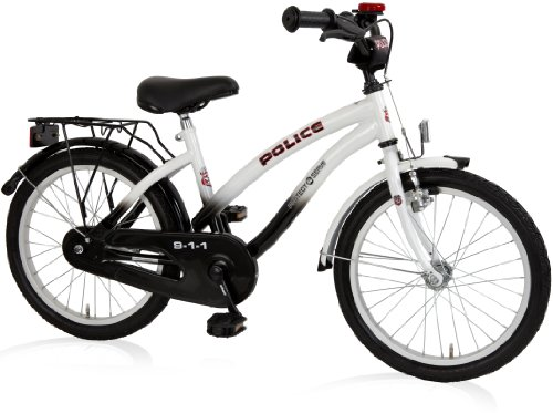 Bachtenkirch Kinder Fahrrad POLICE Cruiser Kinderfahrrad, Schwarz/Weiß, 18