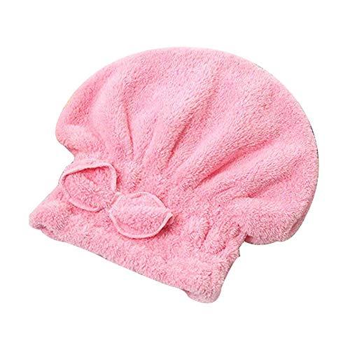 ZLKMQ Serviette de tête, Chapeau de Cheveux secs, Bonnets de Douche élastiques Bowknot, Serviette de Cheveux Absorbant l'eau, Turban Enveloppant à la tête à séchage Rapide, Rose