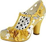 Ruby Shoo mujeres Valerie T-Bar bloque tacón corte zapatos 09335, color Amarillo, talla 41 EU