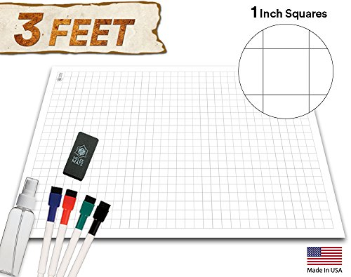 Battle Grid Game Mat - ULTRA DURABLE POLYMER MATERIAL - Role Playing DnD Map - Reusable Table Top Non Hex Mats - RPG Dungeons and Dragons Dry Erase Vinyl Tiles - Large Set for Starters and Masters