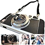 Sonffablly Vintage Camera Phone Case, 3D Unique Camera Shape Phone Case, Silicone Cover Case with Long Strap Rope (for iPhone Xs max)